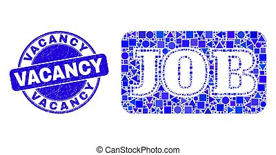 trabalho, vaga, mosaico, caption, selo, azul, selo, grunge