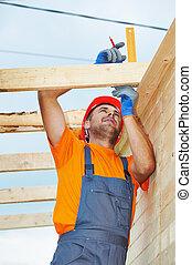 trabalhos, carpinteiro, telhado
