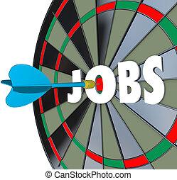 trabalhos, carreira, dartboard, dardo, sucedido, emprego