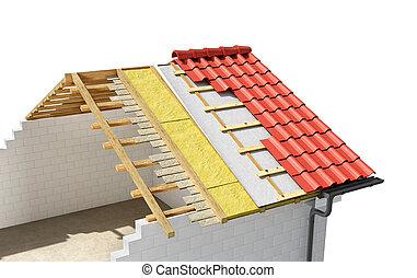 trabalhos casa, inacabado, 3d, telhado, predios, ilustração