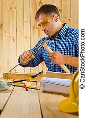 trabalhos, cinzel, carpinteiro