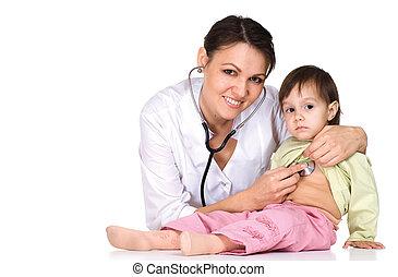 trabalhos, doutor, criança