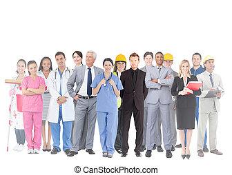 trabalhos, pessoas, grupo, sorrindo, diferente