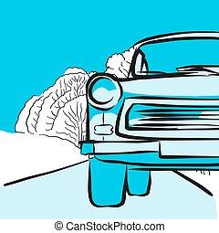 Trabant im Winter auf glatter Straße