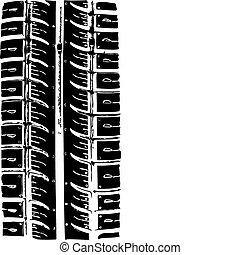 traccia, di, il, pneumatico, vettore