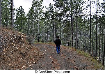 traccia, segno, scia, camminare, colline nere, uomo