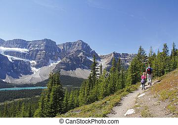 traccia, segno, scia, Escursionisti, montagna