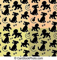traccia, silhouette, seamless, collezione, cane, guinzaglio, nero, modello