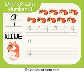 tracciato, nove, numero, worksheets