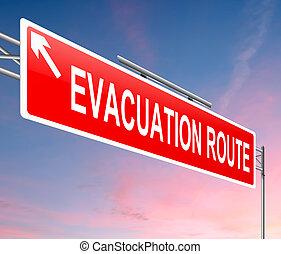 tracciato, segno., evacuazione