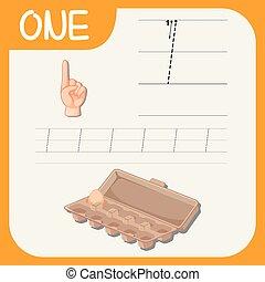 tracciato, uno, numero, worksheets