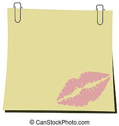 trace, agrafe, lips., illustration, papier, réaliste, vecteur, crosse