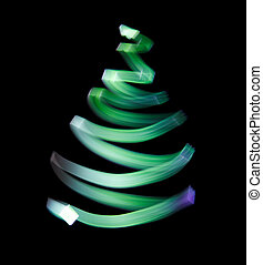 trace., alberi., simbolo, splendere, ondulato, verde, natale