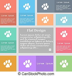 trace dogs icon sign. Set of multicolored buttons with space for text. Vector