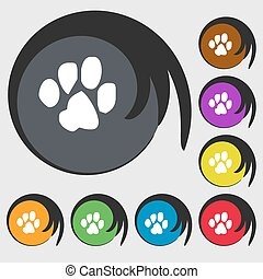 trace dogs icon sign. Symbol on eight colored buttons. Vector