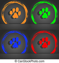 trace dogs icon symbol. Fashionable modern style. In the orange, green, blue, green design.