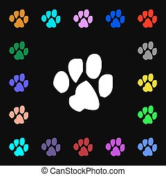 trace dogs iconi sign. Lots of colorful symbols for your design. Vector