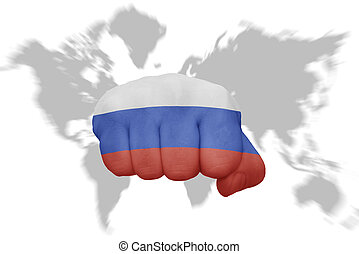 trace experiência, bandeira nacional, punho, mundo, rússia