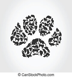 Trace of a cat collected from cats. A vector illustration