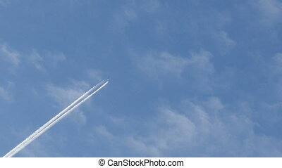 trace of an airplane flying high in the sky