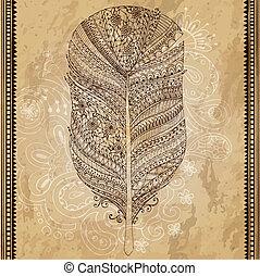 trace., schets, grafisch, grunge, artistiek, persoonlijk, reeks, feather., gecreëerde, pattern., stylized, illustratie, hand, achtergrond., vector, doodle, kolken, getrokken, veer, van een stam, getrokken