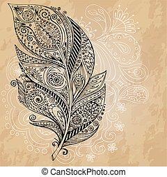 trace., schets, grafisch, grunge, artistiek, persoonlijk, reeks, feather., gecreëerde, veertjes, stylized, illustratie, hand, achtergrond., vector, doodle, kolken, getrokken, pattern., van een stam, getrokken