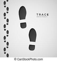 trace., silueta, boots., trodden, aislado, ilustración, rastro, vector, zapato, plano de fondo, footprint., blanco
