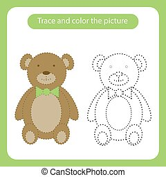 trace, teddy, simple, jouet, picture., couleur, ours, shapes.