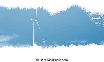 trace, turbines, vent, apparaître
