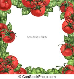 Basil and Tomatoes Square Frame