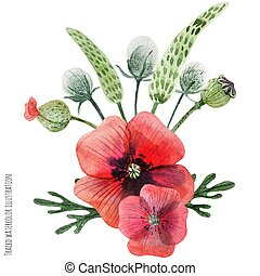 Poppy and grass hand painted watercolor boutonniere - Traced...