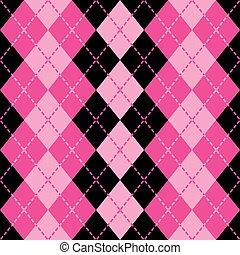 tracejado, argyle, em, cor-de-rosa, e, pretas