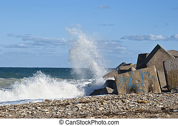tracejado, ondas, pedras