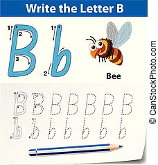 tracer, alphabet, b, lettre, worksheets