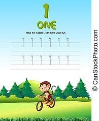 tracer, une, nombre, worksheets
