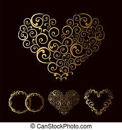 tracery, bröllop, älska hjärta