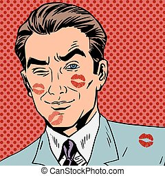 Traces of a kiss on the man face pop art retro style