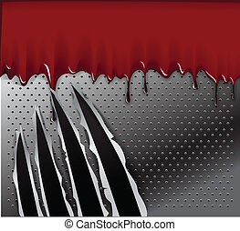 Traces of an animal claws and blood on steel background. ...