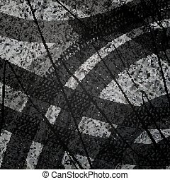 Traces of car tires on asphalt. Texture of asphalt surface. Tire marks, tire tread, tread marks. Sport. Street Race. Racing on machines. Controlled drift. Top view. Vector illustration background.