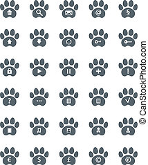 Traces of Cat Icons Set.