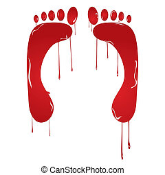 Traces of feet - Human, red traces of feet with blood drops...