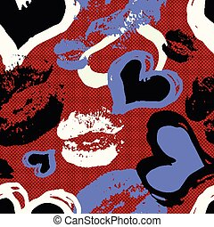 traces of lips and heart on red background seamless pattern