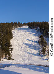 Traces of skiing on the mountain