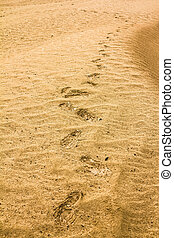 Traces of the shoe on a sand dune in the desert