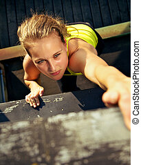 Traceur Participating In Parkour Wall - Overhead view of the...