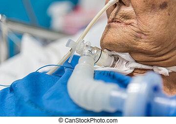 tracheostomy, ventilatore, ospedale, paziente