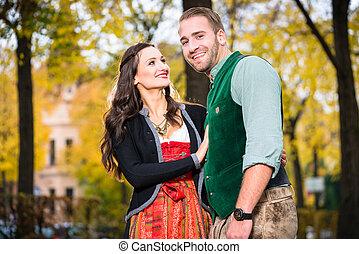 tracht, par, bavaria, feliz
