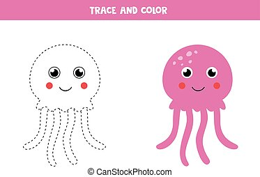 Tracing and coloring cute pink jelly fish. - Trace and color...