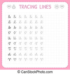 Tracing lines. Basic writing. Worksheet for kids. Working ...