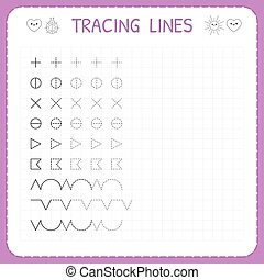 Tracing lines. Working pages for children. Preschool or ...